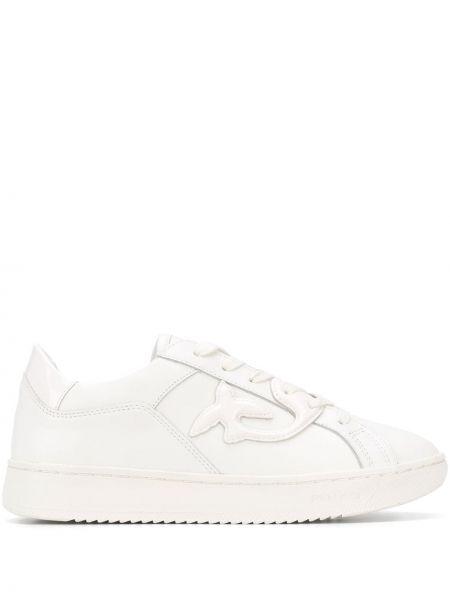 Skórzane sneakersy różowy białe Pinko