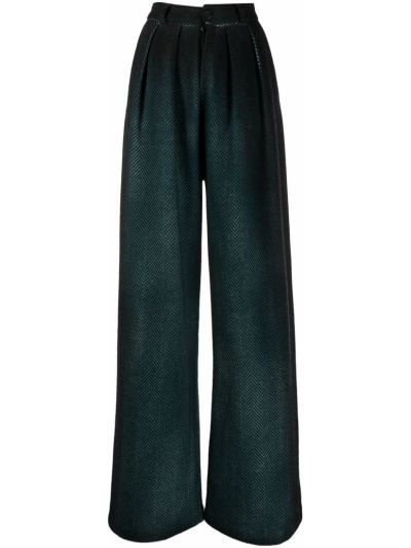 Шерстяные свободные зеленые брюки свободного кроя Avant Toi