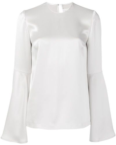 Блузка с длинным рукавом с рукавом-колоколом атласная Galvan