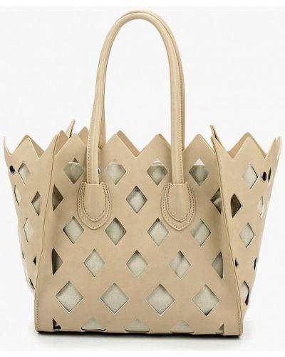 Бежевая сумка шоппер Vitacci