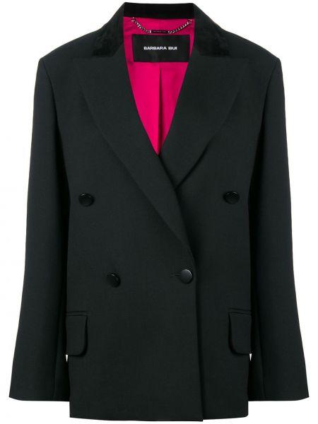 Klasyczna czarna długa kurtka skórzana Barbara Bui