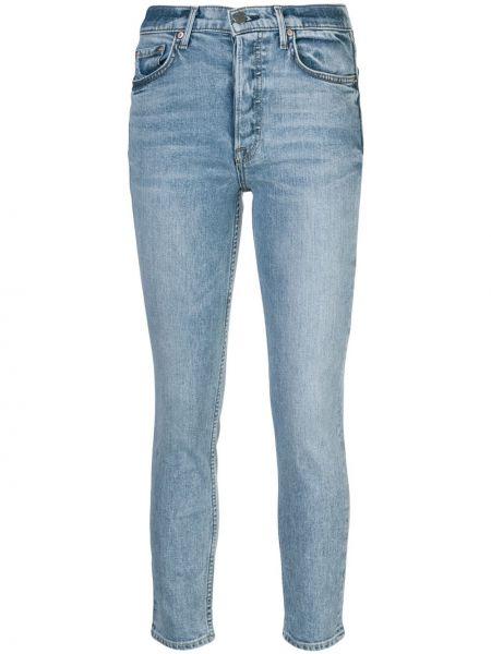 Niebieskie jeansy bawełniane z paskiem Grlfrnd