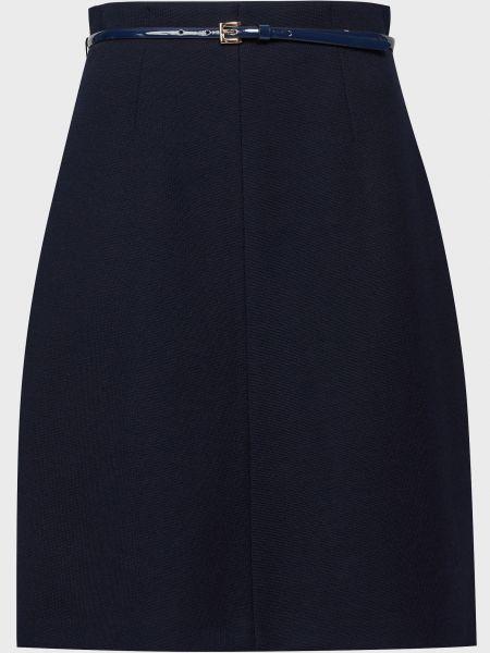 Шерстяная синяя юбка с поясом Luisa Spagnoli