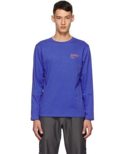 Хлопковая синяя рубашка с воротником с длинными рукавами Affix