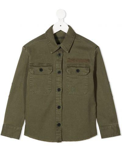 Зеленая классическая рубашка с воротником с вышивкой с карманами Zadig & Voltaire Kids