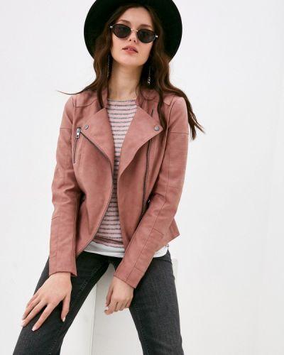 Розовая кожаная куртка Only