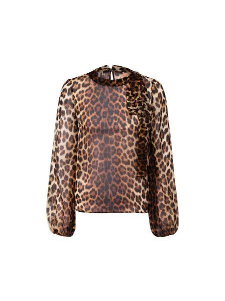 Блузка с леопардовым принтом шелковая No. 21