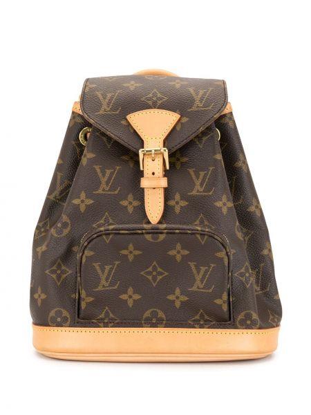 Коричневый кожаный рюкзак на шнурках Louis Vuitton