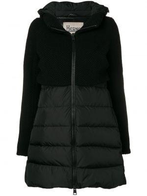 С рукавами вязаная черная длинная куртка Herno