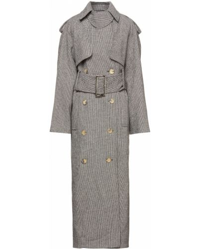 Серое шерстяное пальто двубортное Khaite