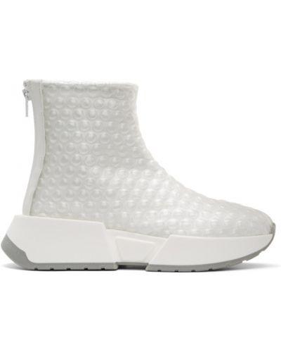 Skórzany biały wysoki sneakersy z kołnierzem okrągły Mm6 Maison Margiela