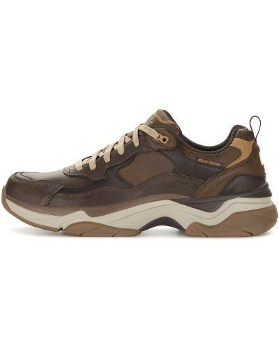 Текстильные коричневые полуботинки на шнуровке Skechers
