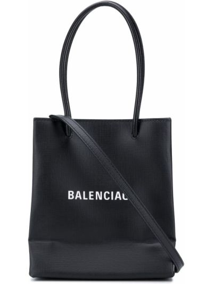 Черная кожаная сумка шоппер на молнии Balenciaga