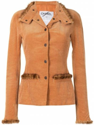 Оранжевая куртка вельветовая с воротником Chanel Pre-owned