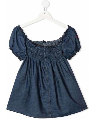 Расклешенная хлопковая синяя блузка Mc2 Saint Barth Kids