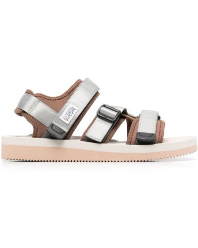 Brązowe sandały srebrne peep toe Suicoke