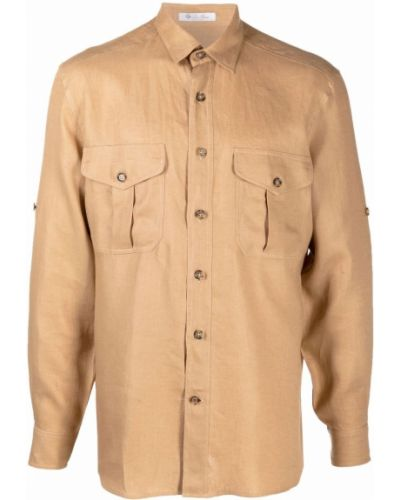 Beżowa klasyczna koszula Loro Piana