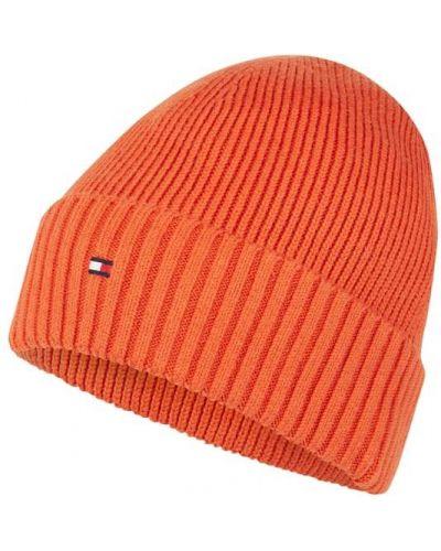 Prążkowana pomarańczowa z kaszmiru czapka Tommy Hilfiger