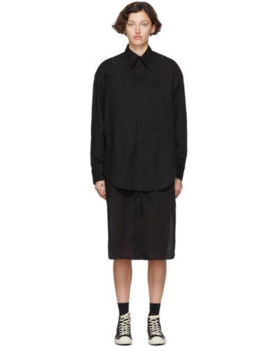 Хлопковое черное платье макси с длинными рукавами с воротником Y's