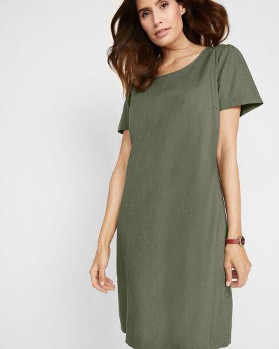 Льняное зеленое платье на пуговицах Bonprix