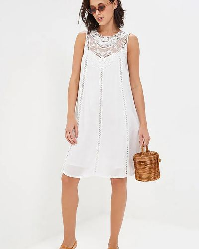 Белое кружевное хлопковое ажурное платье Baon