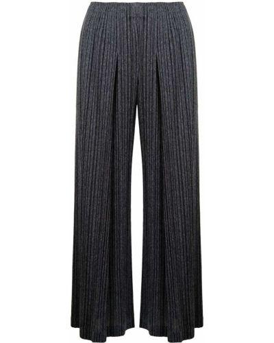 Укороченные серые широкие брюки из вискозы Pleats Please Issey Miyake
