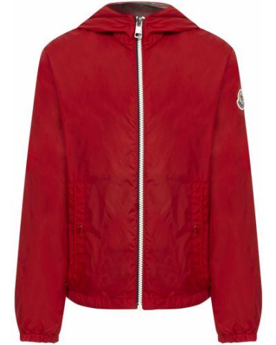 Czerwona kurtka sportowa z kapturem bawełniana Moncler