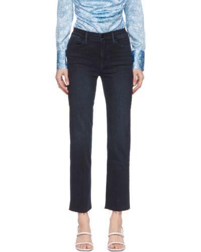 Зауженные черные прямые джинсы стрейч с манжетами Frame