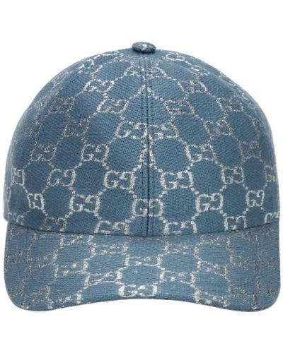 Baseball niebieski z paskiem wełniany kapelusz Gucci