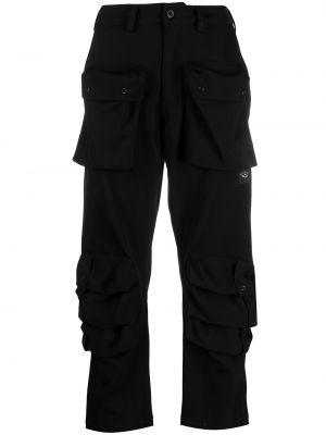 Spodni wełniany czarny przycięte spodnie z kieszeniami Paul & Shark