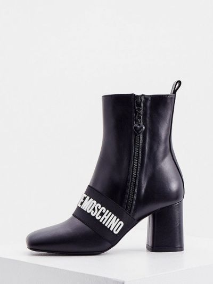 Черные резиновые ботильоны Love Moschino