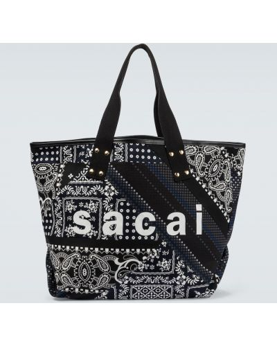 Czarna torba na ramię w paski bawełniana Sacai