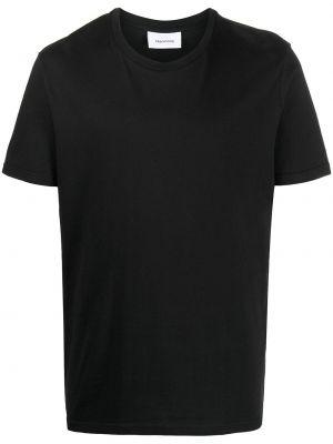 Хлопковая черная прямая рубашка с коротким рукавом с короткими рукавами Harmony Paris