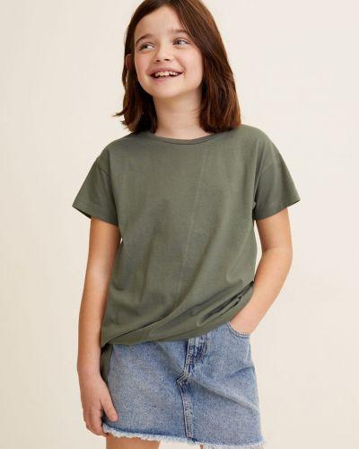 Джинсовая юбка на пуговицах хлопковая Mango Kids