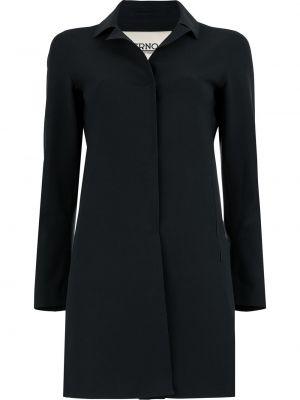 Черное пальто классическое с воротником на пуговицах с карманами Herno