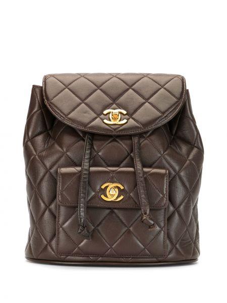 Skórzany plecak brązowy złoto Chanel Pre-owned