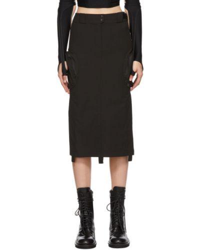 Ватная хлопковая черная юбка карго с поясом Hyein Seo