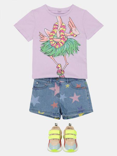 Fioletowy t-shirt bawełniany na plażę Stella Mccartney Kids