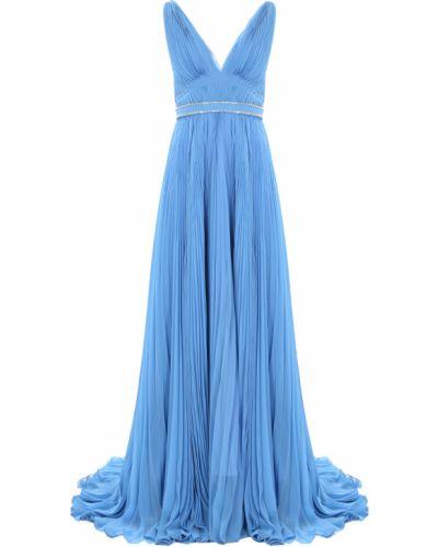 Шелковое вечернее платье с поясом с декольте Prada