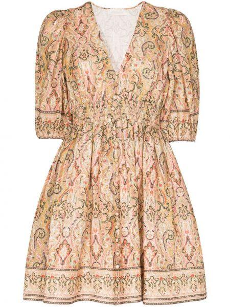 Платье мини на пуговицах с V-образным вырезом Zimmermann
