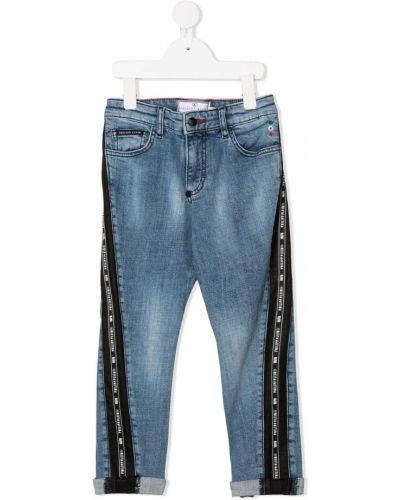 Синие облегающие джинсы-скинни на молнии Philipp Plein Junior