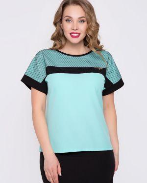 Классическая бирюзовая блузка с кокеткой с сеткой Diolche
