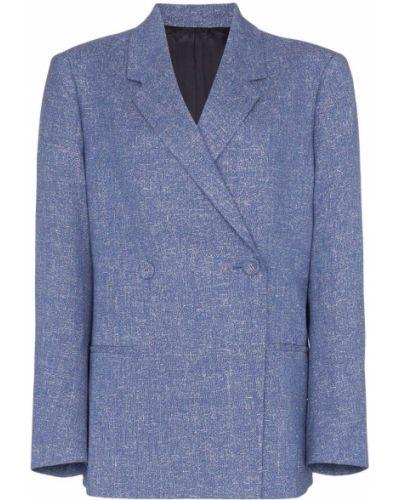 Синий удлиненный пиджак на пуговицах Toteme