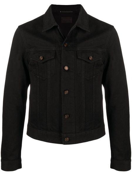 Bawełna z rękawami czarny koszula jeansowa z mankietami Saint Laurent