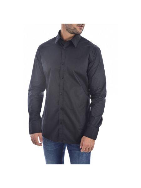 Czarna koszula jeansowa z haftem z długimi rękawami Guess