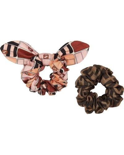 Jedwab różowy opaska na głowę z falbankami Fendi