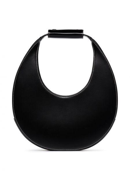 Открытая черная кожаная сумка из натуральной кожи Staud