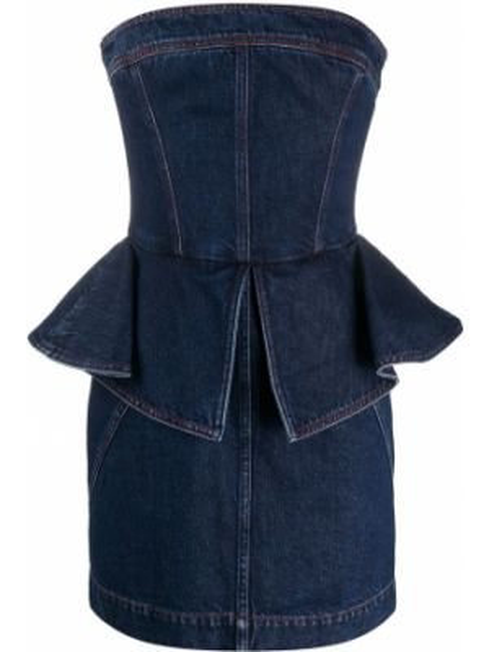 Синее джинсовое платье с баской с оборками на молнии Philosophy Di Lorenzo Serafini