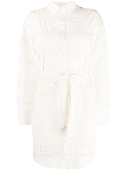 Платье с поясом на пуговицах со вставками Lautre Chose