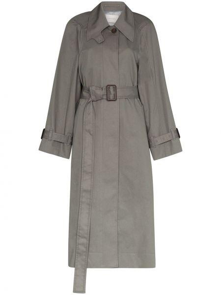 Синее пальто классическое с воротником с поясом Low Classic
